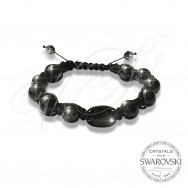 Bracelet Pearls n Black Stone - Wrapped