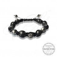 Bracelet Pearls n Dark Crystal - Wrapped