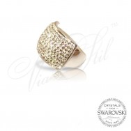 Ring with white Swarovski crystals