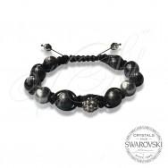Bracelet Pearls n Dark Crystal - Wrapped