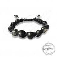 Bracelet Pearls n Dark Crystals - Wrapped